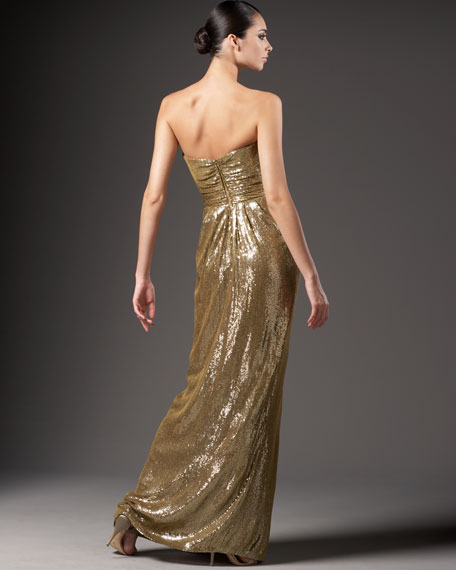 Sequined Silk Sweetheart Gown