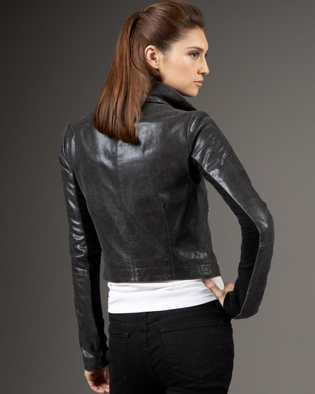 Max Leather Jacket, Charcoal