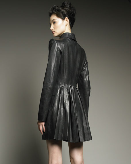 Godet-Back Leather Coat