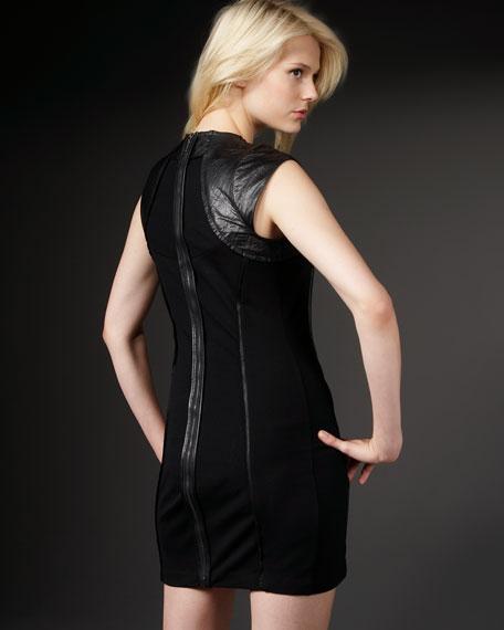 Leather-Yoke Sheath Dress
