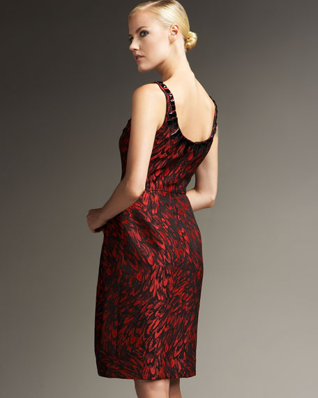 Beaded-Neck Brocade Cocktail Dress