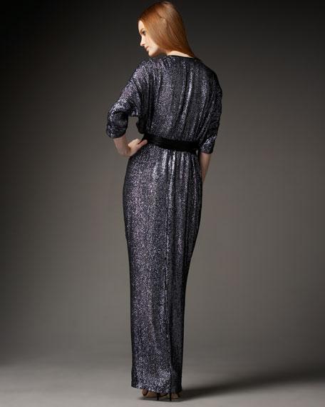 Sequined Tie-Waist Gown