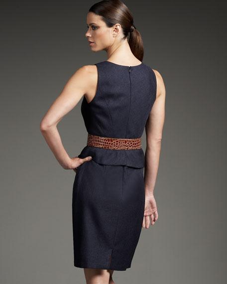 Slit-Neck Peplum Dress