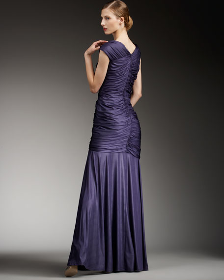 Ruched Asymmetric Jersey Gown, Women's