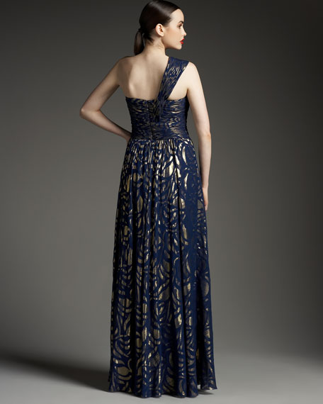 One-Shoulder Metallic Floral Gown