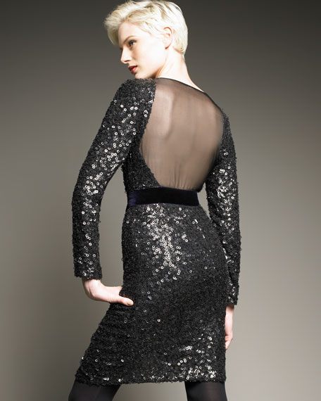 Sequin Illusion-Back Dress
