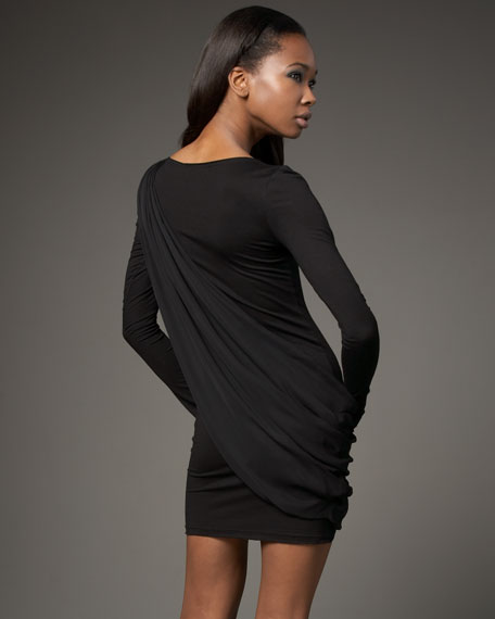 Long-Sleeve Toga Jersey Dress