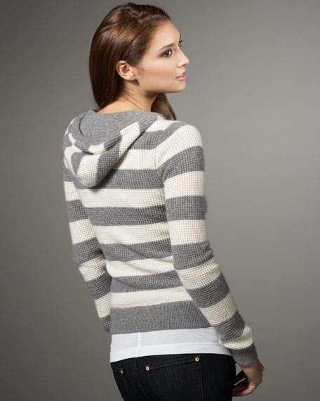 Rugby-Stripe Thermal Cashmere Hoodie, Gray/White