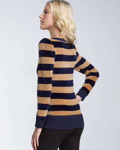 Striped Puff-Sleeve Pullover
