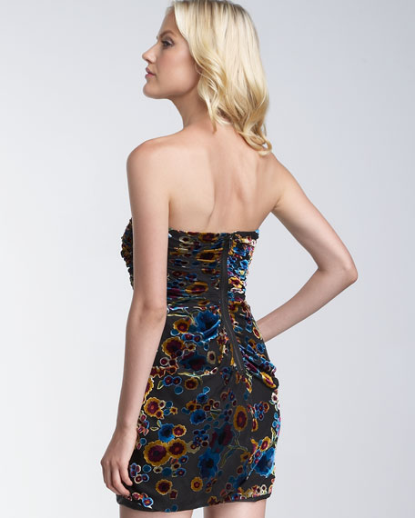 Printed Devore Drape Dress
