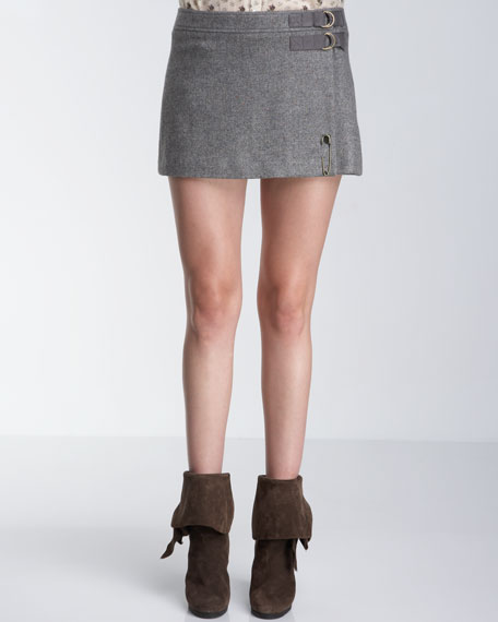 Flecked Tweed Kilt Miniskirt