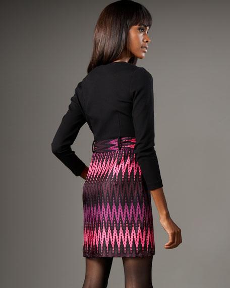 Puzzle-Print Silk Combo Dress