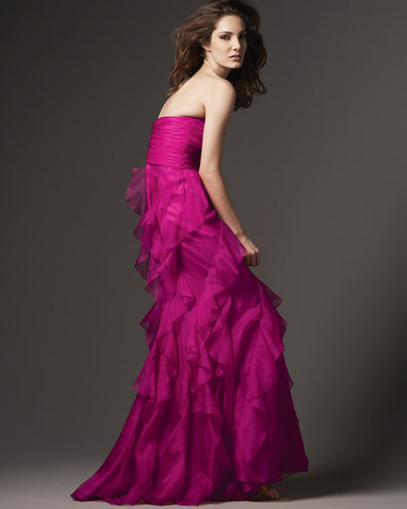 Organza Strapless Ruffle Gown