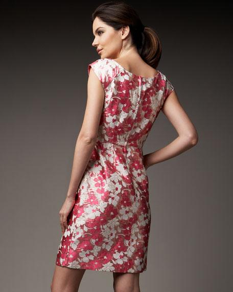 josie metallic floral-jacquard dress