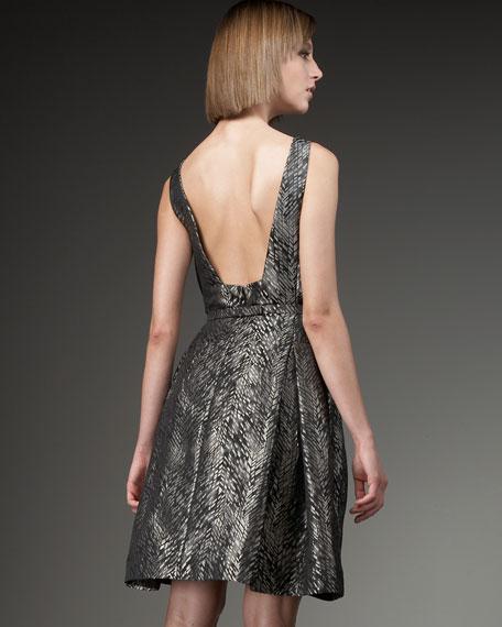 Belted Brocade Low-Back Dress