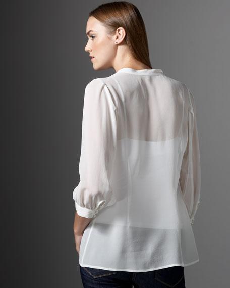 Denise Pleated Silk Blouse