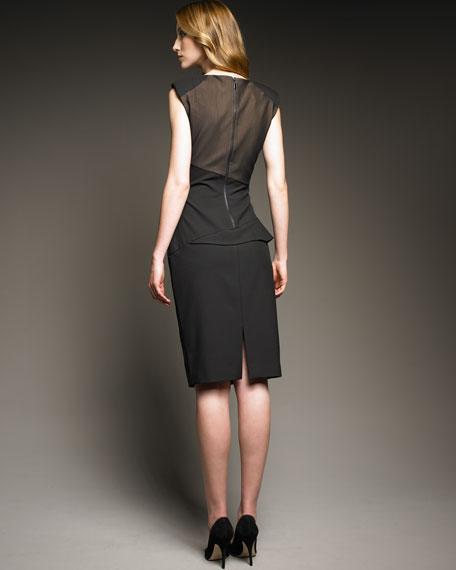 Sheer-Top Peplum Dress