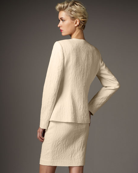 Ruffle-Front Textured Suit