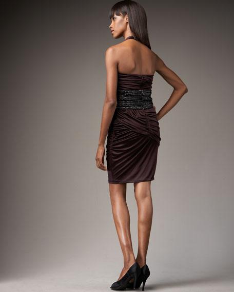 Asymmetric-Neck Belted Dress