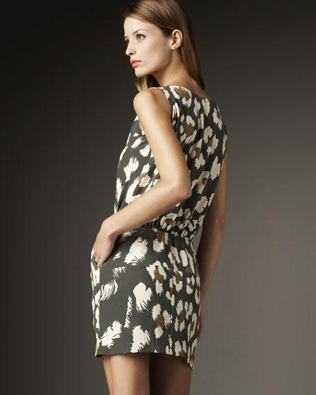 Twist-Neck Tie-Waist Dress