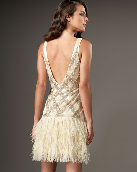 Feather-Bottom Sequined Dress