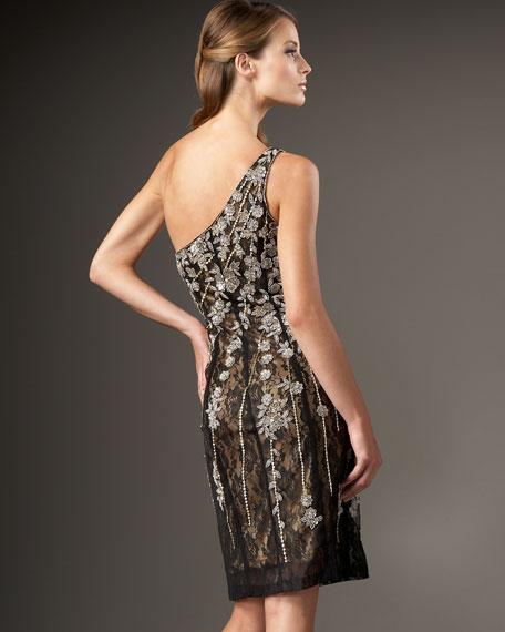 One-Shoulder Beaded Flower Dress