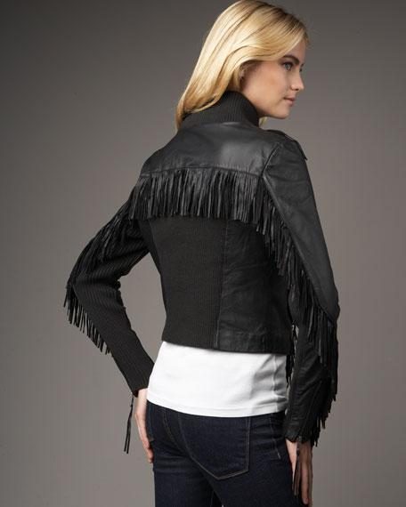 Fringe Leather Jacket, Black