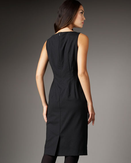 Pinstripe Shift Dress, Black