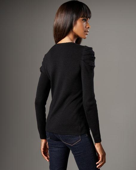 Puff-Shoulder Wool Cardigan