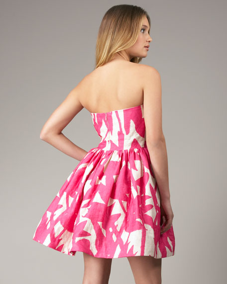 Strapless Tulip-Print Dress