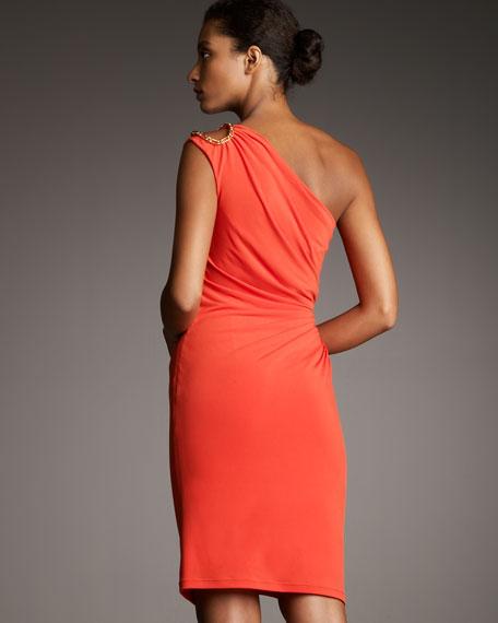Embellished One-Shoulder Cocktail Dress