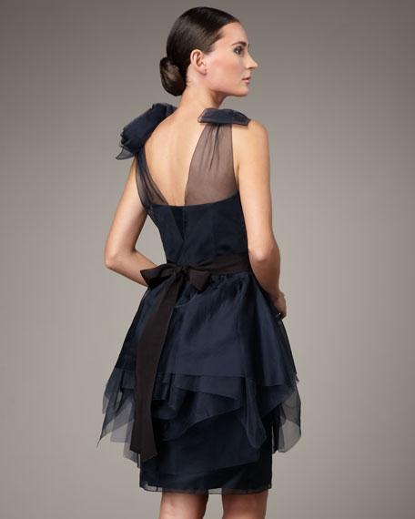 Tie-Shoulder Organza Tiered Dress