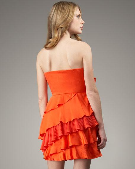Strapless Asymmetric Ruffle Dress