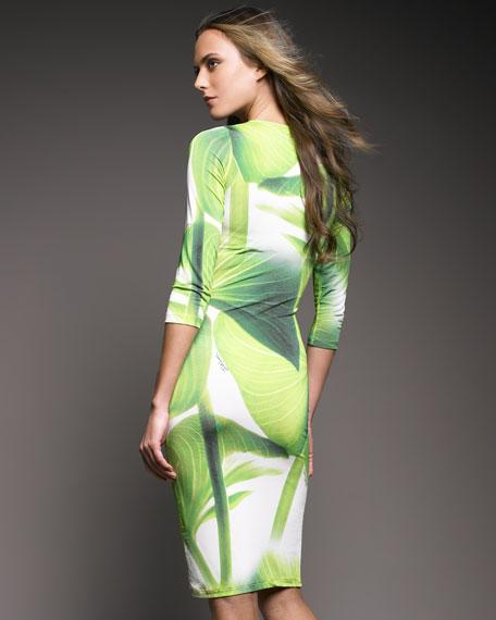 Leaf-Print Scoop-Neck Dress