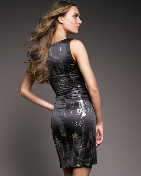 Square-Neck Satin Dress