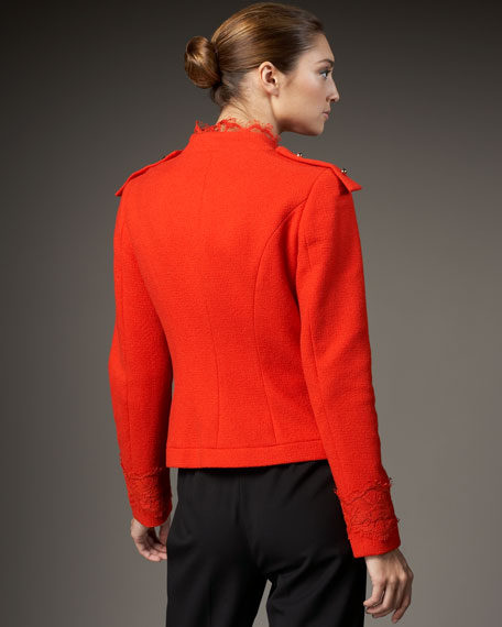 Lace-Trim Boucle Jacket