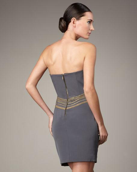 Beaded Strapless Silk Dress