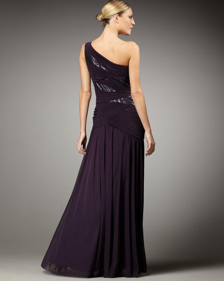 One-Shoulder Mesh Sequin Gown