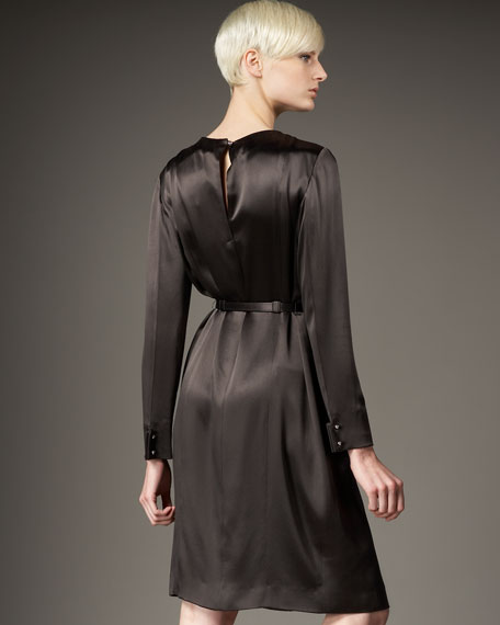 Long-Sleeve Satin Dress