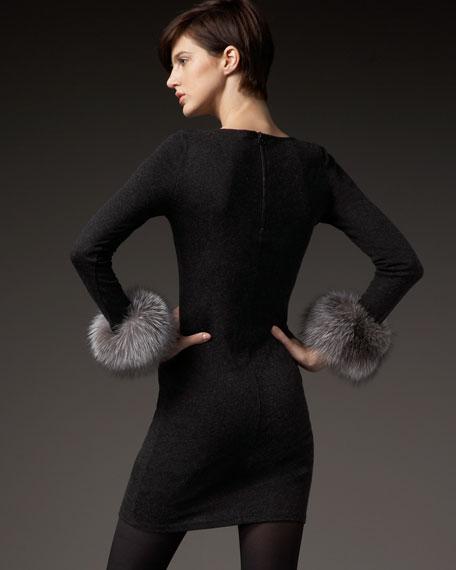 Adrianna Fur-Cuff Knit Dress