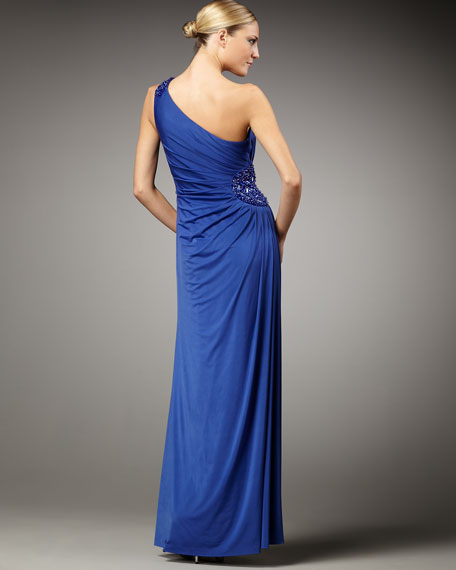 Beaded One-Shoulder Jersey Gown