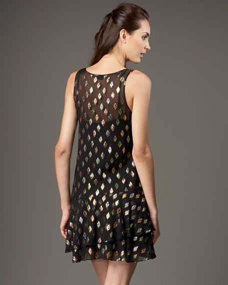 Silk Sleeveless Dress With Ruffle