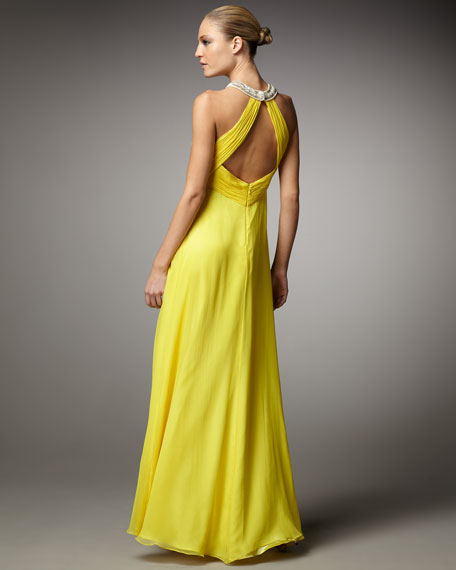 Beaded Chiffon Halter Gown