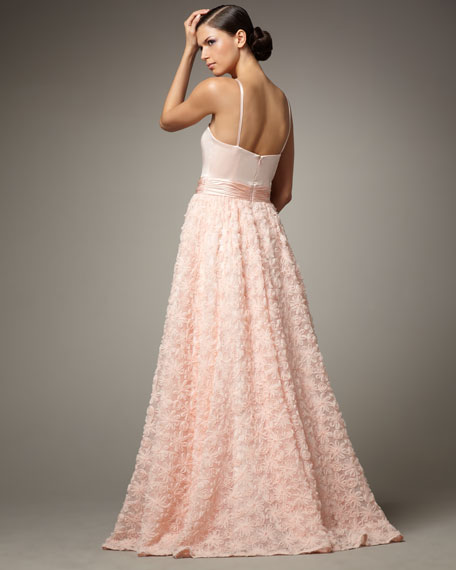 Floral Tulle-Skirt Ball Gown