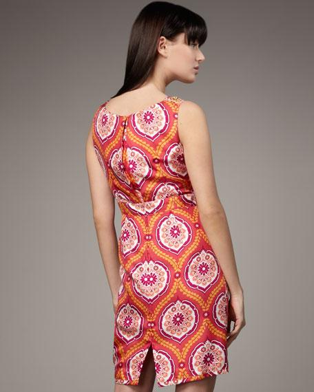Silk Pleated-Neck Dress