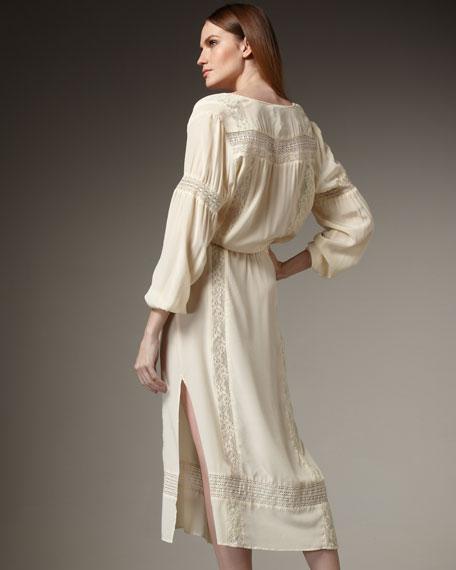 Lace-Panel Mid-Calf Dress