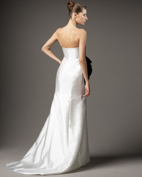 Strapless Draped Rosette Gown