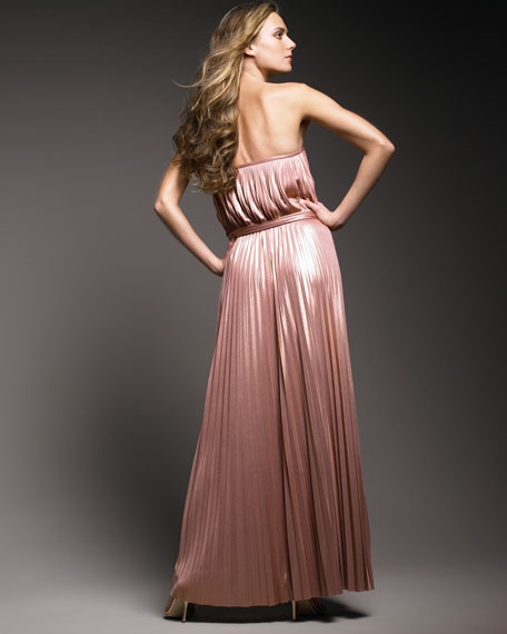 Pleated Foil Gown