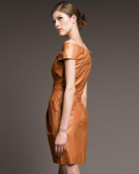 Leather Off-the-Shoulder Dress