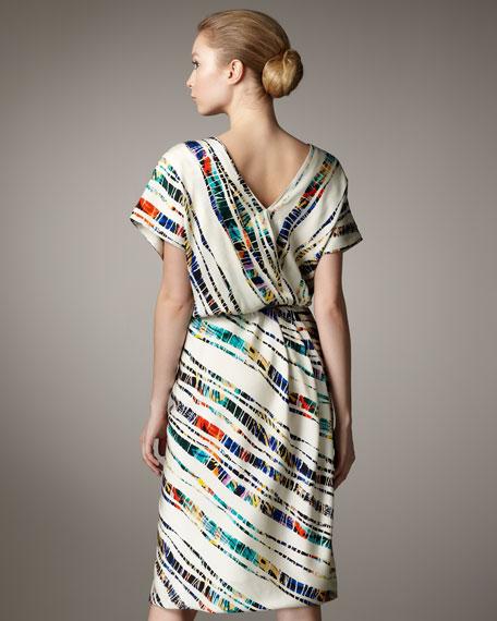 Bamboo-Print Draped Tulip Dress
